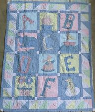 ABC Girl quilt baby crib blanket quilted wall hanging Flower, Sailboat, Bonnet