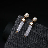 Earrings Nails Golden Drop Cone Transparent Pearl White Art Deco BB 10