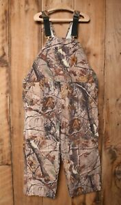 CARHARTT Realtree Camouflage Quilt Insulated Cropped Bibs Overalls Sz. 48x25