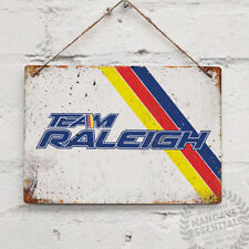 Team Raleigh Stripes Vintage Metal Wall Sign Plaque Mancave Bike Cycle BMX
