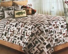 New Full / Queen Quilt Bed Set w Shams Wildlife Bear Elk Log Cabin Lodge Rustic