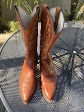 Vintage JUSTIN Brown Orange Leather Cowboy Boots Mens Size 12 D Style 1483 USA