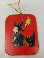 Vtg Image  Girl Pumpkin witch cat Glitter Wood Wooden Halloween Ornament