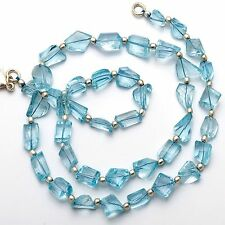 Super Fine Quality Natural Blue Topaz Faceted Fancy Cut Nuggets Necklace 143Cts.