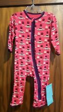 New Kickee Pants Red Ginger Aliens/Saucers ruffle coverall w/zip, 9-12 mo,Nwt
