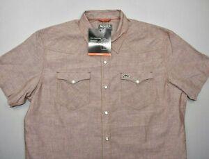 NEW Simms Men's No-Tellum LS Shirt Rusty Red Chambray Size XL