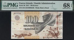 Faeroe Islands 100 Kronur 2011 P.30 PMG 68 EPQ