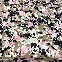 Stretch Cotton Sateen Fabric pink beige navy on cream camouflage 100x135cm