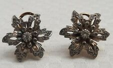 Antiguo Oro 14 CT pendientes de diamantes Daisy