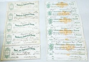 1873 Check Lot 14 US Revenue Paper #RN-D1 + 5 Bank Checks Mansfield, Ohio