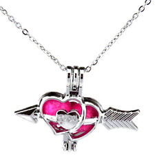 "Silver Heart Bow Arrow Lovers' Pearl Cage Locket Necklace Charms 18"" -K497"
