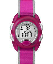 Timex TW2R99000, Kid's Time Machines Watch, Pink Fabric, Indiglo, Alarm