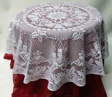 """White Christmas Candles, Hearts and Bells 45"""""""" Round Lace Table Topper"""