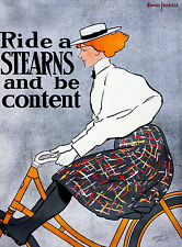 Ride a Stearns, Bicycle Advertising Poster 1896 Cycling, Bike, Art Canvas Print