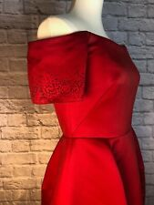 Marchesa Notte Red Satin Laser-cut Floral Cocktail Dress Size 8 NWT $795 Retail