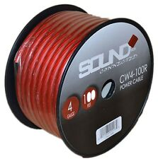 4 Gauge Wire Red Amplifier Power/Ground 4 Ga Amp Wire 100 Feet Spool Cable