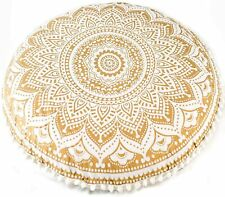 """32"""" Gold Ombre Floor Pillow Cover Seating boho Ottoman mandala Round Pouf cover"""