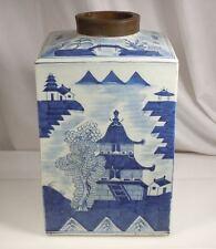 18/19th century Chinese Large Blue & White Canton Porcelain Storage Jar