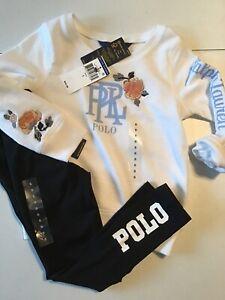 Polo Ralph Lauren Girl's Size 5 Outfit Black Logo Leggings Logo Sweatshirt White
