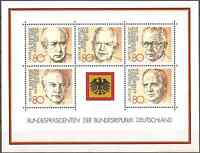 MH 1982 West GERMANY Presidents of FEDERAL REPUBLIC Minisheet 5 Stamps 80 Pfg.