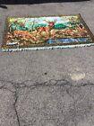 Vintage 1940s German 51x72in Deer Thick Tapestry