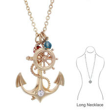 Women Fashion Gold Color Anchor Wheel Pendant Long Necklace Nautical Jewelry
