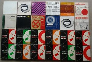 """Lot Of 24 Vintage 7"""" Reel To Reel Recording Tapes (12 Sony)"""