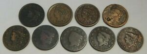 Lot of 9 - U.S. Large Cents - Coronet Head - 1816-1855 - 1¢ W/ Problems