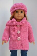OUR GENERATION AMERICAN GIRL PINK MIX COAT, SCRAF & HAT SET CLOTHES 18INCH  DOLL