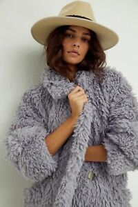 FREE PEOPLE LILAC HONEYPIE TEDDY COAT (SIZE S) RRP £158