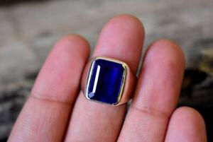 1 Ct Mens Blue Emerald Tanzanite & Sim Diamond Wedding Ring 14K White Gold Over