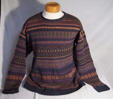 Chaps Ralph Lauren Crewneck Sweater Size Large 100% Cotton Orange Blue Green