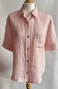 Max Mara Weekend 100% Linen Shirt Blouse Size XL Fine Pink and White Stripes