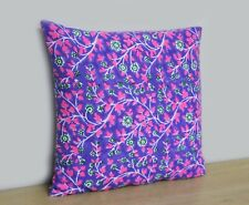 Indian 100% Cotton Hand Block Print Blue Floral Cushion Cover Pillow Case Cover