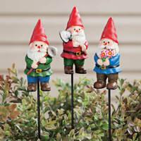 Set of 3 Gnome Sculpture Planter Garden Stakes