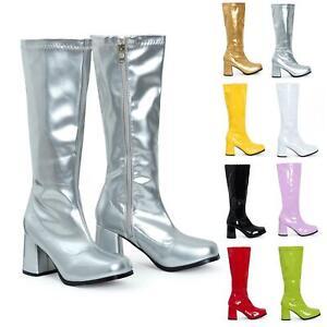 Womens Go Go Fancy Dress Party Retro Patent Shiny Platform 1960 1970 Boots