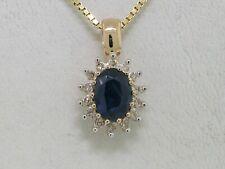 Saphir Anhänger 585 Gelbgold 14Kt Gold natürlicher Saphir  14 Diamanten