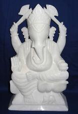 """16"""" New Marble Ganesha Statue Lord Ganesh Deities Sculpture White Handmade Art"""