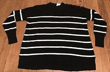NWT Women's Polo Ralph Lauren Linen Dolman Sleeve Black White Stripe Sweater M