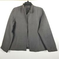 Eileen Fisher Ribbed Silk Jacket Women Open Front Lined Gray Pockets M