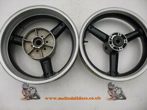 Suzuki GSXR 600 750 SRAD TL R Hayabusa Pair Black & Silver Wheels Rims AJT Front