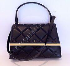 CAROLINA HERRERA Lambskin Quilted Leather CH Logo Black Shoulder Bag HandBag NWT