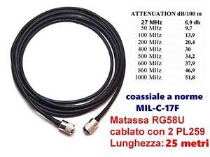 CAVO COASSIALE RG58U MIL METRI 25 CON PL259 CONNETTORI CABLATO