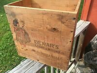 OLD VINTAGE WOOD-WOODEN DEWARS & SONS WHITE LABEL SCOTCH WHISKY CRATE BOX