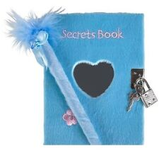NEW BLUE FUZZY/DIARY SECRETS BOOK WITH HEART MIRROR, LOCK AND PEN FREE SHIPPING