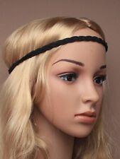 Boho Ladies Festival Wedding Garland Black Cord Forehead Hair Brow Head Band