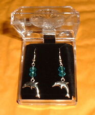 DOLPHIN EARRINGS with 2 Crystals NIB Maritime Ocean Blue Surg/Steel French Hooks