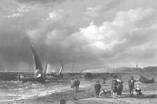 HOLLAND NORTH SEA COAST SHORE BEACH SAILBOAT SHIPS ~ 1852 Art Print Engraving