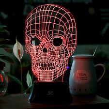 LED 3D Illuminated Skull Illusion Light Sculpture Micro USB Desk Night Lamp
