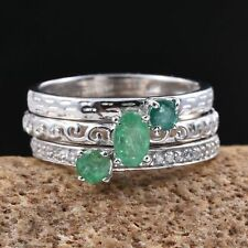 Kagem Zambian Emerald, White Zircon Platinum Over Sterling Silver Ring Set (Size